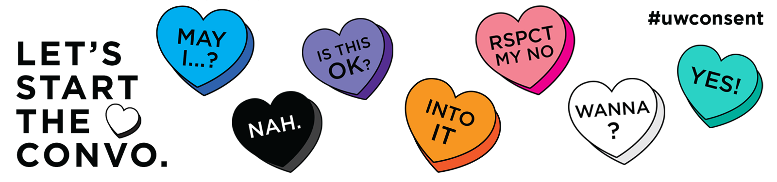 "Let's Start the Convo graphic with colored conversation hearts featuring phrases like ""Yes!"" and ""Nah."""