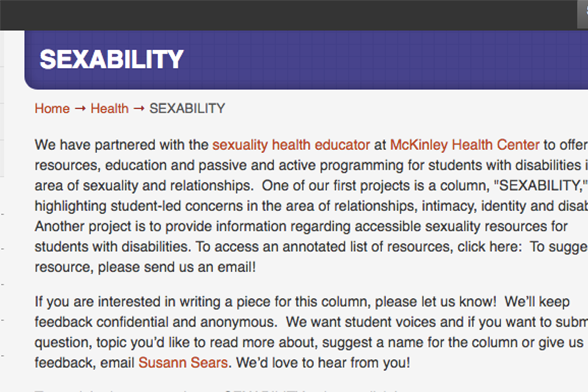 Screenshot of Sexability page