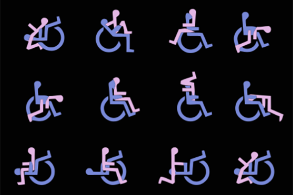 Pink and lavender figures on a black background showing different sex positions featuring one person using a wheelchair