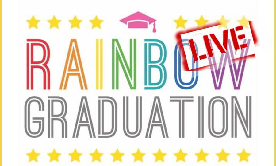 Rainbow Grad logo with LIVE stamped on top